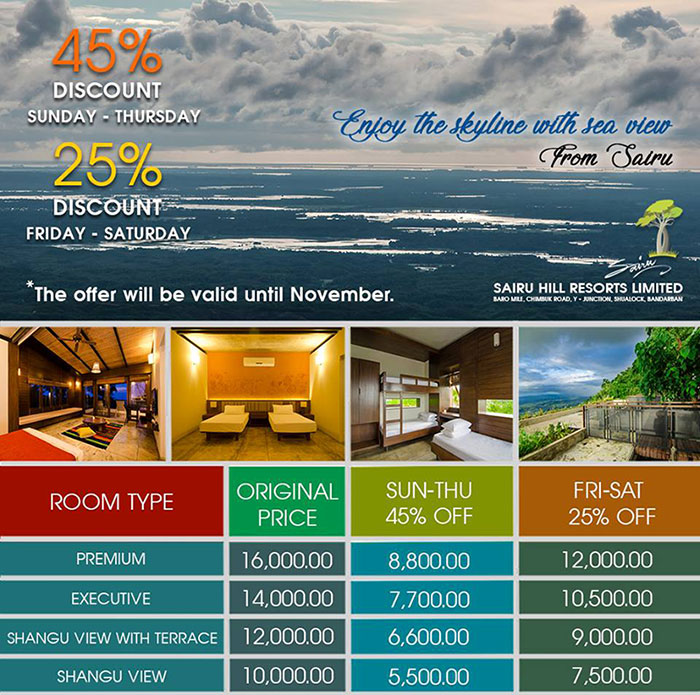 room rent of sairu hill resort